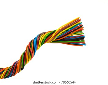 Color wires isolated on white background