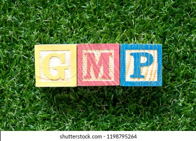 Color wood block in word GMP (Abbreviation of good manufacturing practice) on artificial green grass background