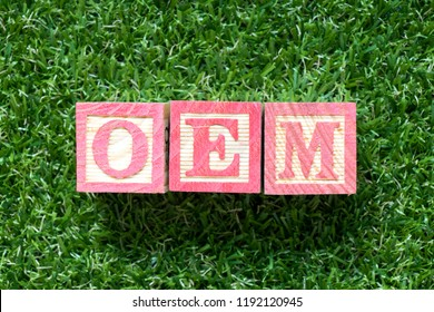Color wood block in word OEM (Abbbreviation of Original Equipment Manufacturer) on artificial green grass background