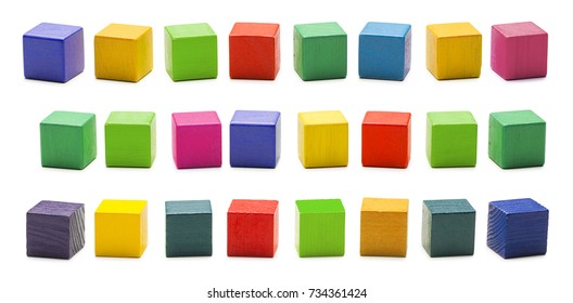 Color Wood Blocks Toys, Blank Multicolored Wooden Cube Bricks, Isolated over White Background with clipping path