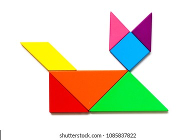 Color wood tangram puzzle in cat shape on white background