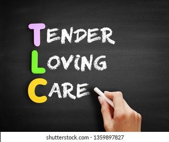 Color Wooden alphabets building the word TLC - Tender Loving Care acronym on blackboard