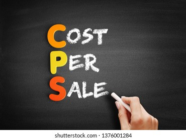 Color Wooden alphabets building the word CPS - Cost Per Sale acronym on blackboard