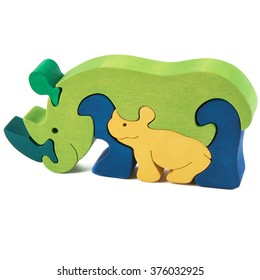 color wooden creative rhino puzzle toy on white