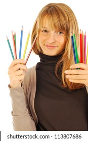 Color the world - 165 - A girl holds in hands of colored pencils