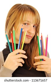 Color the world - 168 - A girl holds in hands of colored pencils