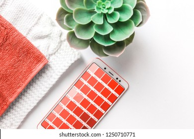Color of the year 2019 Living coral . COY 2019 Livingcoral. Color palette Pantone on mobile phone