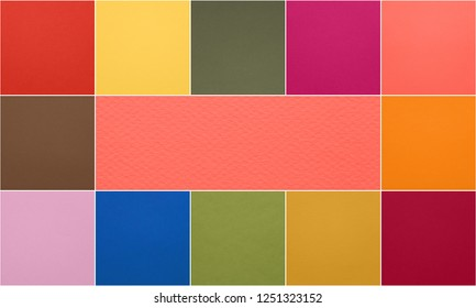 Color of the year 2019 Living Coral pantone and other fashionable trendy colors of spring-summer 2019 season from fashion week. Texture of colored paper. Photo collage