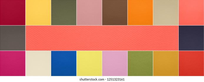 Color of the year 2019 Living Coral pantone and other fashionable trend and neutrals colors of spring-summer 2019 season from fashion weeks. Texture of colored paper. Photo collage