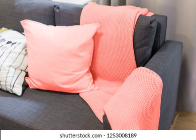 Color of the year 2019 living coral. blanket and pillows on the sofa in the interior