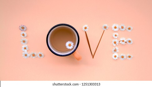 Color of the year 2019. Love message written with flowers on pastel Living Coral background. Individual Love concept.