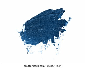Color of the year 2020 classic blue glitter texture. Sample of classic blue makeup products isolated on white background. Trendy blue makeup, cosmetics concept. Main color trend concept.  - Shutterstock ID 1580044534