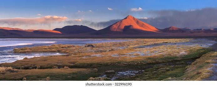 Colorada lagoon and the volcano Pabellon, Altiplano, Bolivia