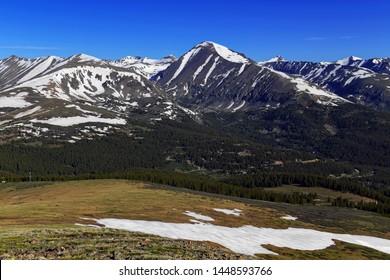 Colorado 14er Quandary Peak and alpine landscape with snow capped peaks, Rocky Mountains, Colorado