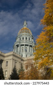 Colorado Capitol With Golden Fall Foliage and Blue Sky