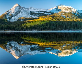 Colorado, East Beckwith Mountain. Composite of reflection in Lost Lake Slough. Credit as: Don Paulson / Jaynes Gallery / DanitaDelimont.com