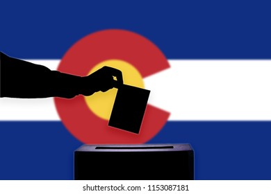 Colorado flag with ballot box during elections / referendum