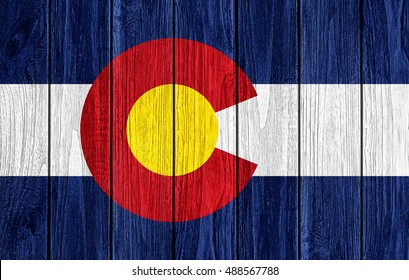 Colorado flag painted on old wood plank background-3D illustration