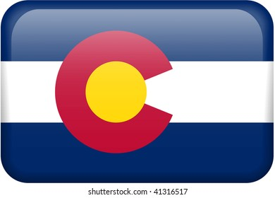 Colorado flag rectangular button.  Part of set of US State flags all in 2:3 proportion with accurate design and colors.