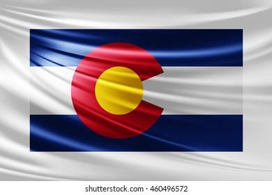 Colorado  flag of silk -3D illustration