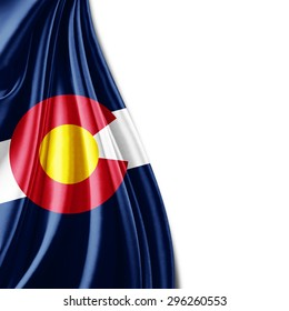 Colorado flag  of silk with copyspace for your text or images and white background