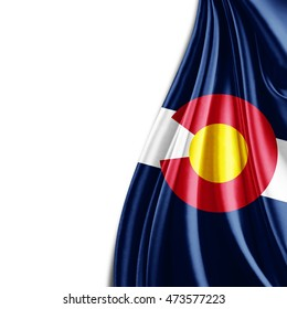 Colorado flag  of silk with copyspace for your text or images and white background-3D illustration