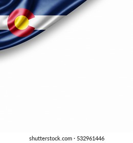 Colorado flag of silk with copyspace for your text or images and white background -3D illustration