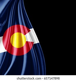 Colorado flag  of silk with copyspace for your text or images and black background-3D illustration