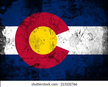 Colorado flag and wall background
