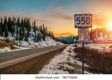 Colorado Highway 550. Famous Million Dollars Highway Near Durango, Colorado, United States. San Juan County.