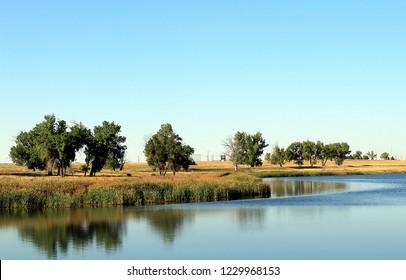 Colorado landscape on Ladora Lake in Rocky Mountain Arsenal National Wildlife Refuge