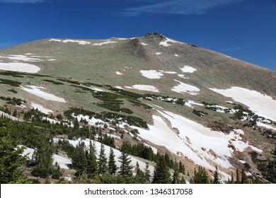 Colorado landscape. Sundance Mountain side peak scenic view. Rocky Mountain National Park, Colorado.