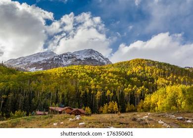 Colorado mountain in autumn with yellow aspen trees, Aspen, CO