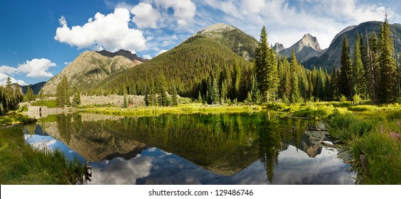 Colorado Mountain Lake Panorama in the Rocky Mountains