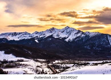 Colorado mountains at sunset.