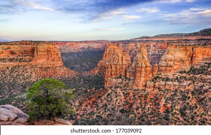 Colorado National Monument beautiful scenic canyon landscape at sunset