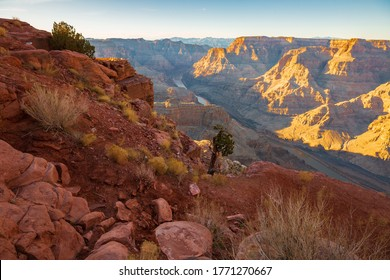 The Colorado river in a crevice of the red mountains in Grand Canyon National Park, Guano point lookout (Arizona).
