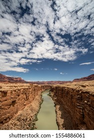 The Colorado River has carved Marble Canyon at Lee's Ferry, Arizona