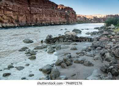 The Colorado River Shoreline at Lee's Ferry, as it approaches the Grand Canyon.