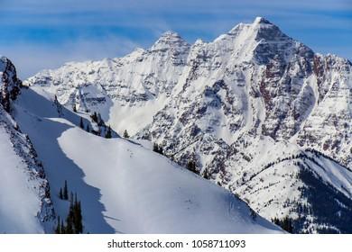 Colorado Rocky Mountains in the winter near Aspen