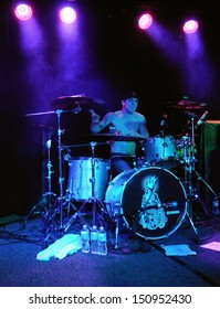 COLORADO SPRINGS		JANUARY 31:		Drummer Chris Bartholomew of the Alternative band Authority Zero performs in concert January 31, 2012 at the Black Sheep music hall in Colorado Springs CO.