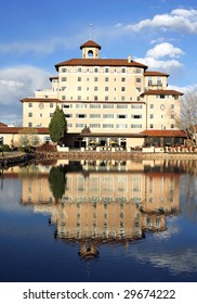 COLORADO SPRINGS, CO - APRIL 22:  A rear view of the famous Broadmoor Hotel main wing April 22, 2009 in Colorado Springs. The historic resort has served many USA Presidents, athletes and celebrities.