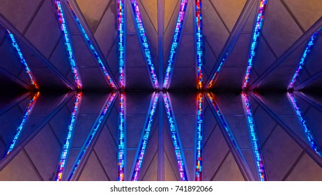 COLORADO SPRINGS, CO - DECEMBER 13, 2015: United States Air Force Academy Cadet Chapel, stained glass