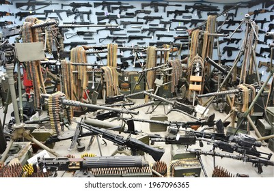 Colorado Springs, CO, USA. April 25, 2021. Dragon Mans Military Museum has lots of military weapons and artifacts such as these machine guns and weapons. They also have a gun range open to the public