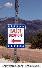 Colorado Springs, CO / USA - June 24, 2020: Ballot Drop-Off Box for Colorado State Primary Election - All Mail-In Voting - Pikes Peak in the Background