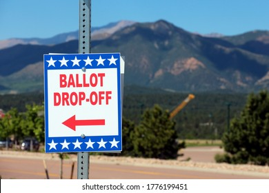 Colorado Springs, CO / USA - June 24, 2020: Ballot Box for Colorado State Primary Election - All Mail-In Voting - Pikes Peak in the Background