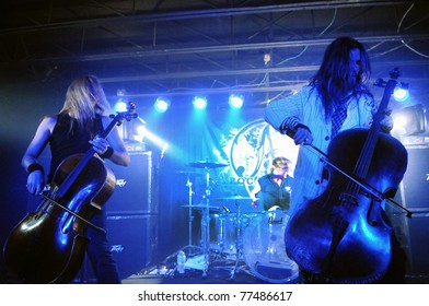 COLORADO SPRINGS, CO. USA – MAY 12:Cellist Eicca Toppinen of the Finnish heavy metal cello band Apocalyptica performs live May 12, 2011 at the Black Sheep Theater in Colorado Springs, CO. USA