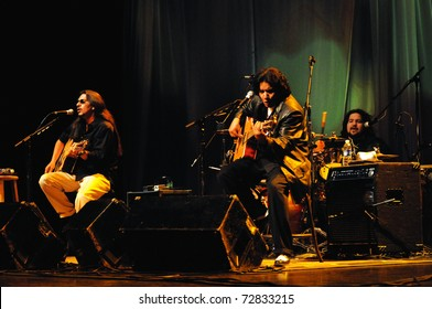 COLORADO SPRINGS - MARCH 2:Grammy Award winning Latin Rock band Los Lonely Boys performs live March 2, 2010 at the Pikes Peak Center in Colorado Springs, CO. USA