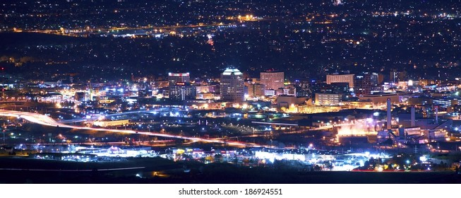 Colorado Springs at Night Panoramic Photography. Colorado Springs, Colorado, United States.