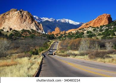 COLORADO SPRINGS, COLORADO - November 7, 2015 - Entrance to Garden of the Gods, Colorado Springs